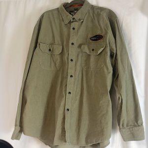 Harley Davidson Men's Green Corduroy Shirt XL